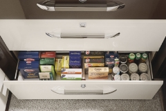 Conveniently sized drawers with soft-close and push lock mechanisms